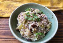 Poêlée crémeuse de sarrasin aux poireaux et raisins secs
