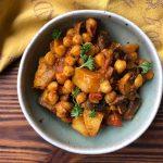 Curry de pois chiches aux champignons et pommes de terre